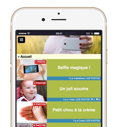 Sur ordinateur, tablette ou comme ici sur leur mobile, vos invités peuvent suivre l'évolution de votre bébé