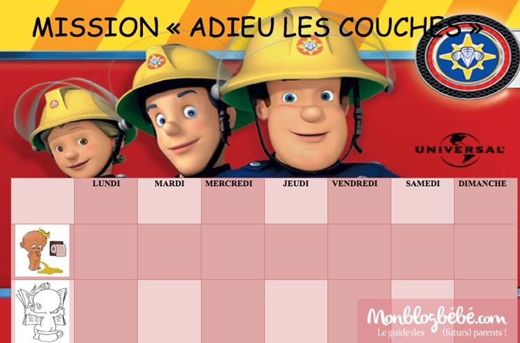 Tableau d'aide - apprentissage propreté enfant avec Sam le pompier